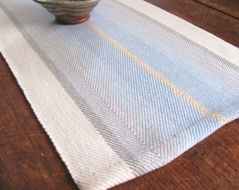 Spring Blue Silver Gray Stripe Cotton Table Runner, Rustic Hand Woven French Country Farmhouse Home Decor, Coastal Beach Cottage Chic Decor