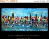 """17% OFF /ONE WEEK Only/ Unique New York City Scape Knife Abstract by Paul Juszkiewicz 48""""x24"""" blue urban multicolor"""
