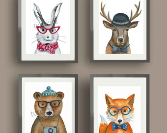 hipster animals art prints, boys nursery art, watercolor  animal art print, animals with glasses