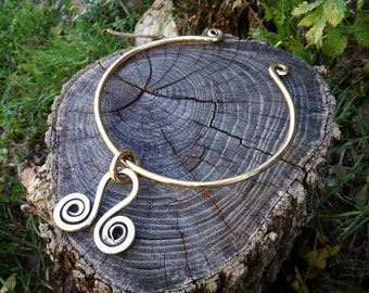 Brass torque necklace