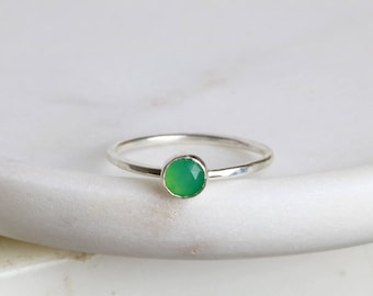 Chrysoprase ring, May birthstone ring, mint green ring stacking - Juliet