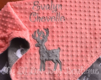 Deer baby blanket - Baby blankets personalized - Baby deer blanket with name - buck baby blanket - hunting baby blanket - fawn baby blanket
