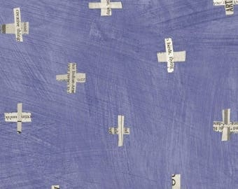 Dreamer by Carrie Bloomston for Windham Fabrics - Full or Half Yard Newspaper Plus Periwinkle Modern