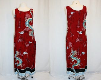 1990's Red & Blue Dragon Tank Maxi Dress Size Small-Medium Vintage REtro 90's Ginger Jars Fans Calligraphy print Asian