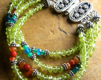 Boho Bracelet Sterling Silver Green Peridot Apatite Labradorite Apatite Bohemian Beaded