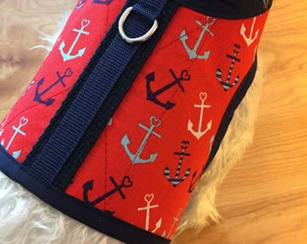 Ship Ahoy! Small Dog Harness, nautical, Made in USA, dog harness, dog harnesses
