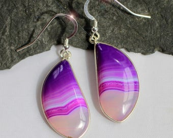 The Power of Pink - Hot Pink and Violet Banded Agate Sterling Silver Earrings