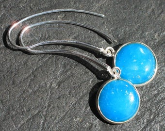 Blue Sky Days - Natural Smithsonite Sterling Silver Earrings