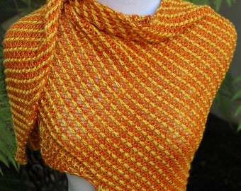 Orange and Yellow Pure Merino Wool Sunny Delight Asymmetrical Hand Knit Brioche Shawlette or Scarf