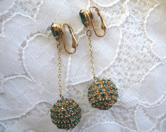Vintage Dangle Rhinestone Earrings ~ Clip On ~ Green Rhinestone Balls