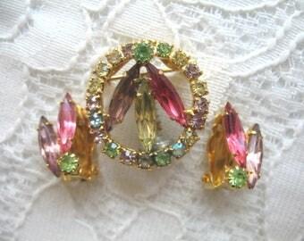 Vintage Rhinestone Brooch & Earring Set ~ Pastel Rhinestones ~ Clip On