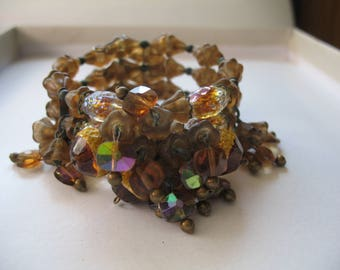 Vintage 1950's Miriam Haskell Style Deep Amber Glass Bead Memory Wire Wrap Bracelet