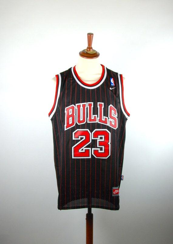 8d85a5f1e579 durable modeling Michael Jordan Black Pinstripe Jersey by Nike Size by  DesertMoss