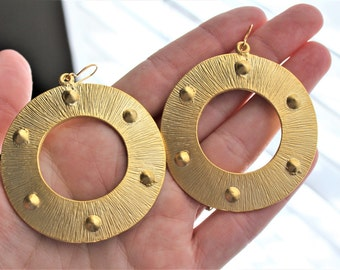 Gold Hoop Earrings Maritime Earrings Maritime Jewelry Steampunk Earrings Steampunk Jewelry Gold Steampunk Earrings Boho Earrings Tribal