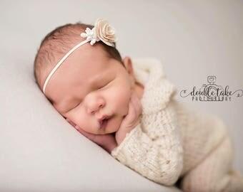 Newborn Knit Romper - Hooded Footed - Newborn Jumper - Newborn Romper with Hood and Feet - Wool Alpaca Cashmere Blend