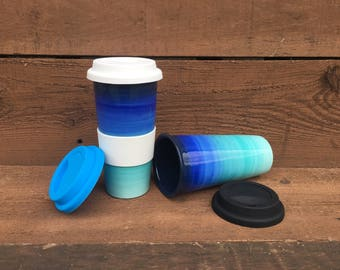 Teal to Blue Ombre Large Ceramic Travel Mug with Silicone Lid - Bright Colorful Gradient Design - Lid Colors - Shades of Blues / Turquoise