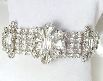 Vintage WEISS Old Hollywood Glam Rhinestone Bracelet, Silver Crystal Bridal Bracelet, Statement Wide, 1950s - 1940s Great Gatsby Wedding