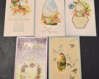 Vintage postcards, FREE SHIPPING 18 Birthday cards, early 1900's,  card-making, scrap-booking, paper crafts 001