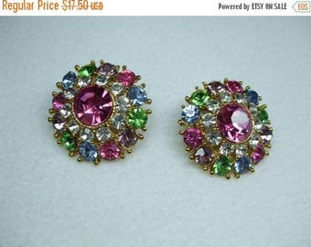 SALE 50% OFF Vintage  Rhinestone Stunning Mutlti Color Pierced Earrings
