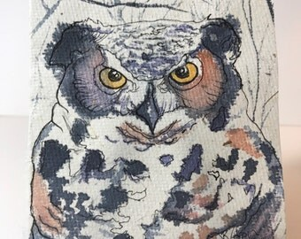 Owl Original Watercolor Ink Bamboo Panda Poo Paper OOAK Unique Weird Gifts Recycled Eco-Friendly Watercolor Animal Art, Conservation