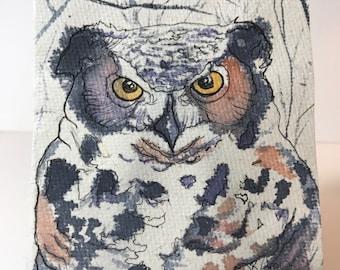 Unique Owl Gift Original Watercolor Art Bambo Paper Wabi-Sabi Bird Nerd Gift Eco Friendly Gifts