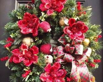 Extra Large Christmas Wreath, Christmas Door Wreath, Elegant Christmas Wreaths, Red Magnolia, Fruit Wreath