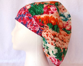 Bouffant Surgical Scrub Hat, Scrub Cap for Woman, Ties into a Ponytail Scrub Hat. Red Floral, Green, Orange and White.