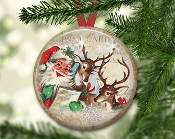 Retro Christmas decorations - Reindeer Christmas ornaments for tree - Christmas refrigerator magnet for the kitchen - MA-1341