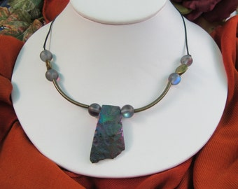 Leather, brass and stone necklace in muted iridescence