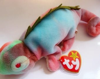 TY Beanie Baby Iggy the iguana | Retired | DOB 8. 12. 97 | mint tags with errors | mint condition | vintage toy lizard