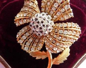 Ciner flower brooch pin   Swarovski rhinestones   designer signed Ciner   Swarovski style   book piece