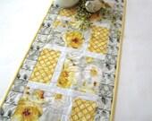 Spring Table Runner, Quilted Table Runner Flowers, Handmade Table Runner, Home Decor, Gray Yellow Runner, Floral Table Runner, Spring Easter