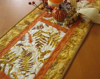 Autumn Table Runner, Quilted Table Runner,  Handmade Table Runner,  Fall Leaves, Rust, Gold, Orange, Home Decor, Tablerunner, Home Decor