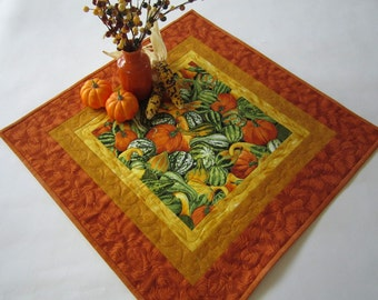 Quilted Table Topper, Fall Table Topper, Gourds, Handmade Table Topper, Table Quilt, Table Linen, Home Decor