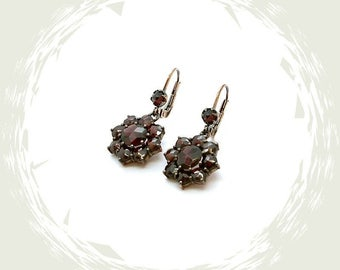 Vintage garnet earrings Victorian style || ГРАНАТ OW7RER