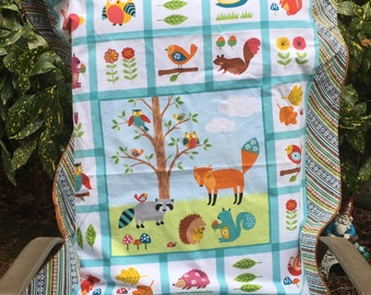 "Baby Blanket - Woodland Friends on Flannel with Smooth Brown Minky, 29"" X 35"""
