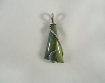 LITE BLUE with GREEN Petrified Wood in Silver
