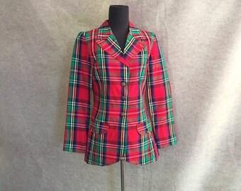 Vintage 70's Blazer, Red Plaid Jacket, Tartan, Taffeta, Christmas, Small to Medium Bust 36