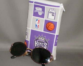 Eyeglass or Sunglasses Case - Padded Zippered Pouch - iPhone - Cell Phone - Basketball - Sacramento Kings