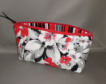 Cosmetic Bag - Makeup Bag - Large Zipper Pouch - Floral - Red, Gray, Black, White