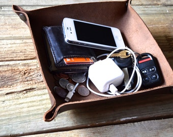 """Handcrafted Leather Valet Tray - 6""""x6"""" Chocolate Brown"""