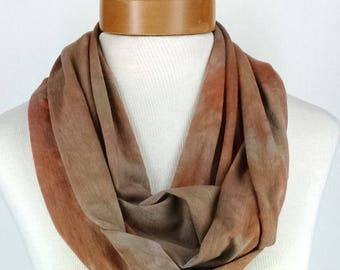 Infinity Scarf In Bronze and Tan, Bamboo Jersey Scarf, Hand Dyed Scarf, Neck Wrap