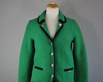 Vintage 90s Women's Kelly Green Geiger Boiled Wool Bavarian Tyrol Fall Winter Wear to Work Jacket Blazer