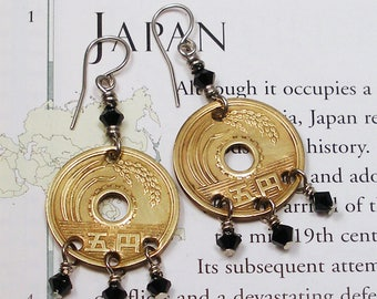 Japan, Authentic Coin Earrings --- The Sun's Origin --- Nippon - Exotic Places - World Travel - Asia - World Coins - Travel Gifts - OOAK