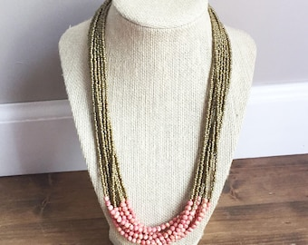 Pink Riverstone Multi-Strand Necklace