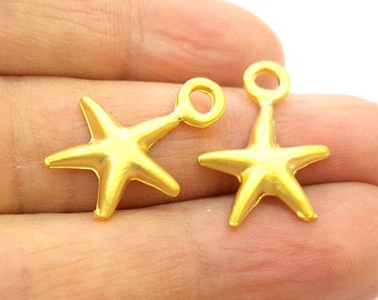 5 Gold Charm Gold Plated Starfish Charms (22x17mm)  G6858