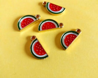 Watermelon charms set of 5