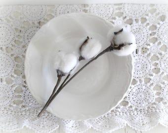 Vintge White Ironstone Plates Four Scalloped Edge Plates 1940's China Wedding Decor