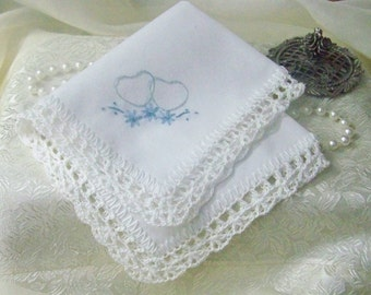 Blue Embroidered Handkerchief, Hanky, Hankie, Hearts, Floral, Hand Crochet, Lace, Ladies, Personalized, Monogrammed, White, Ready to ship