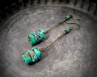 African Turquoise Earrings Minimalist Turquoise Stacked Cylinder Earrings, Simple Rustic Natural Turquoise Earrings December Birthstone